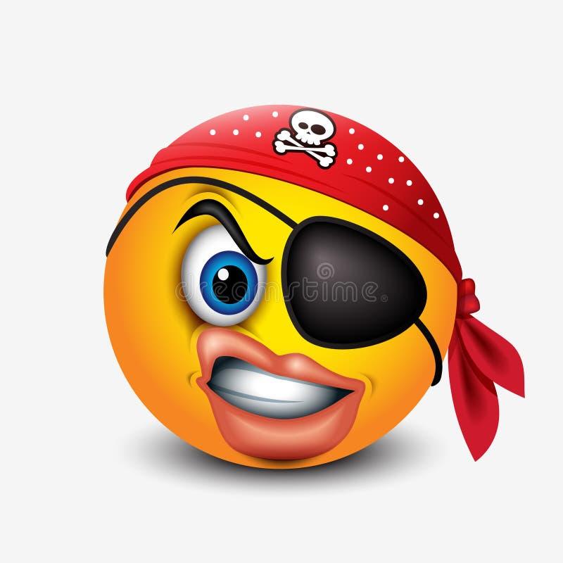 O smiley bonito do pirata que vestem o lenço vermelho do pirata e o remendo do olho - emoticon, emoji - vector a ilustração ilustração do vetor
