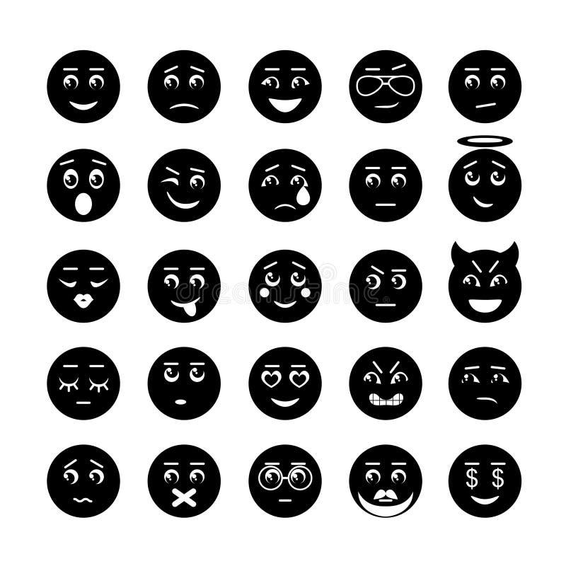 O smiley do vetor enfrenta a coleção do ícone ilustração stock