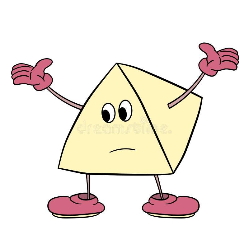 O smiley engraçado do triângulo com pés e olhos espalha seus braços ao lado Esboço da cor da caricatura ilustração do vetor