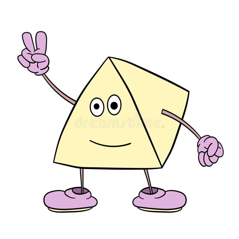 O smiley engraçado do triângulo com pés e olhos mostra dois dedos acima Esboço da cor da caricatura ilustração stock