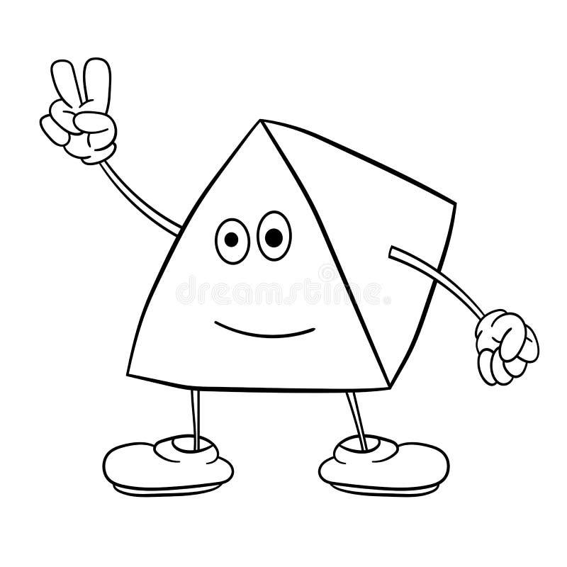 O smiley engraçado do triângulo com pés e olhos mostra dois dedos acima Livro para colorir para crian?as ilustração stock