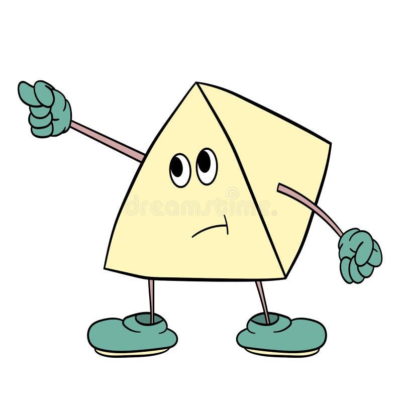 O smiley engraçado do triângulo com pés e olhos mostra um gesto indecente Esboço da cor da caricatura ilustração stock