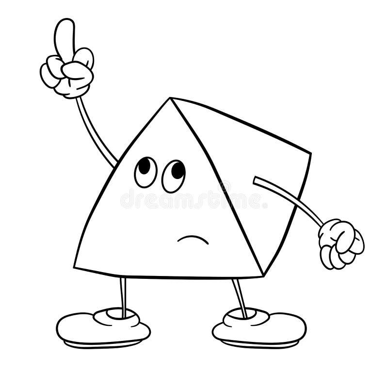O smiley engraçado do triângulo com pés e olhos mostra um gesto indecente com seu dedo Livro para colorir para crian?as ilustração royalty free