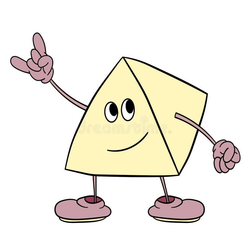 O smiley engraçado do triângulo com pés e olhos mostra um sinal da vitória Esboço da cor da caricatura ilustração stock