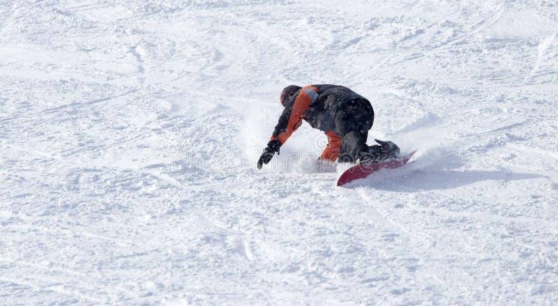 O Snowboarder caiu na neve imagem de stock royalty free