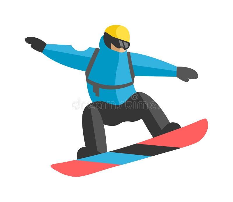 O snowboarder do estilo livre que salta da parte superior da montanha máxima cobriu o vetor das nuvens ilustração stock
