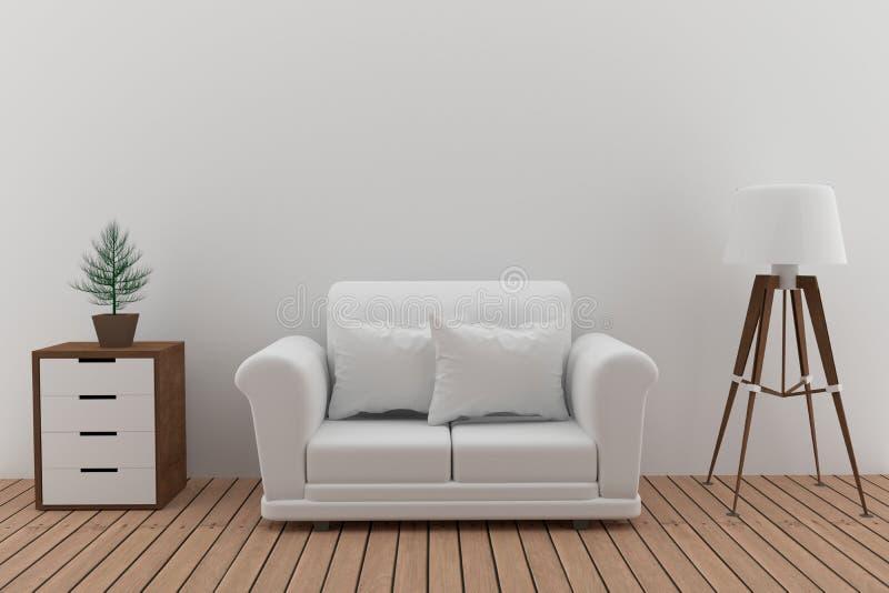 O sofá branco dobro na sala branca com lâmpada e a árvore em 3D rendem a imagem ilustração do vetor
