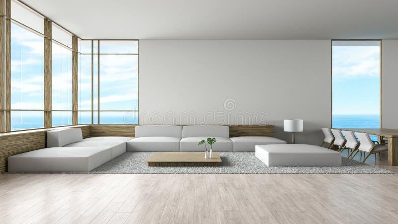 O sofá de madeira do assoalho da sala de visitas interior moderna ajustou a rendição do verão 3d da opinião do mar ilustração stock