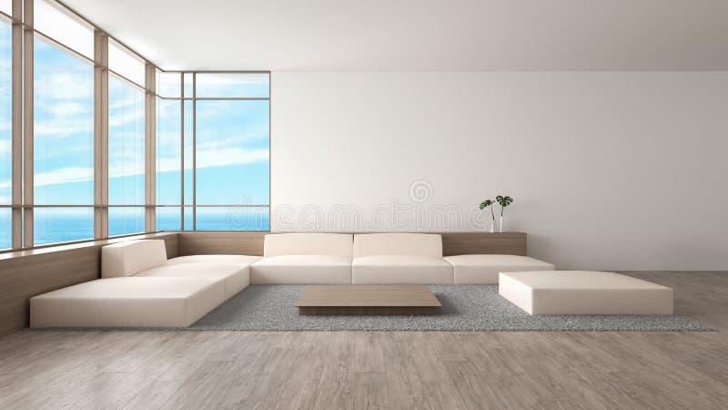 O sofá de madeira do assoalho da sala de visitas interior moderna ajustou a rendição do verão 3d da opinião do mar ilustração do vetor