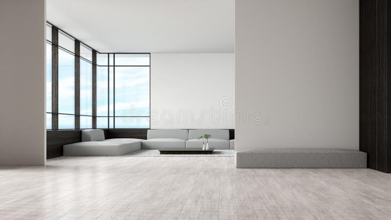O sofá de madeira do assoalho da sala de visitas interior moderna ajustou a rendição do verão 3d da opinião do mar parede vazia d ilustração do vetor