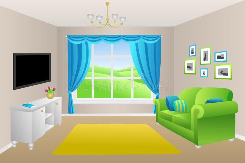 O sofá do verde azul da sala de visitas descansa a ilustração da janela das lâmpadas ilustração royalty free