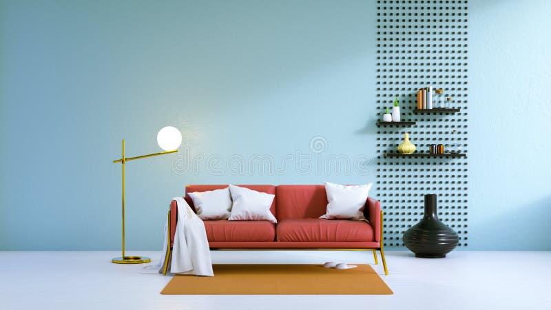 O sofá interior, preto da sala de visitas moderna do sótão com a parede de madeira velha e /3d de pavimentação concreto rendem ilustração royalty free