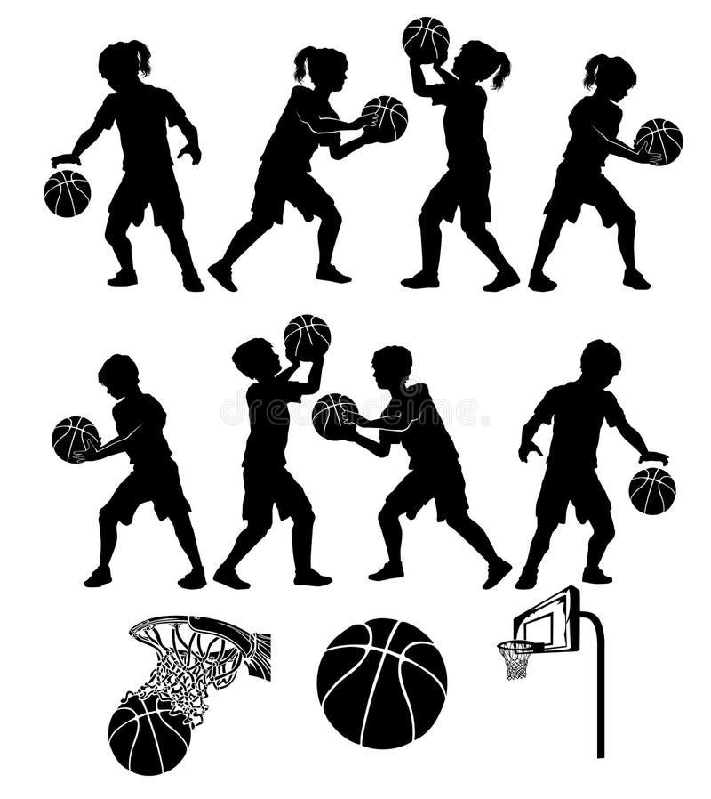 O softball de Basketbal mostra em silhueta meninos e meninas dos miúdos ilustração royalty free