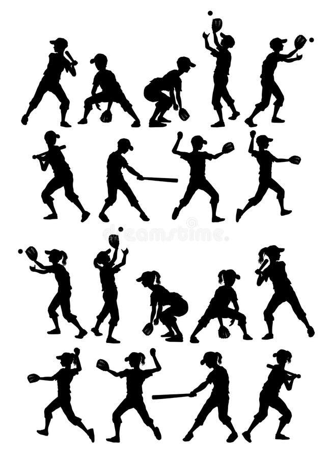 O softball do basebol mostra em silhueta meninos e meninas dos miúdos ilustração royalty free