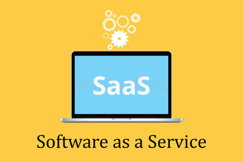 O software de Saas como um conceito do serviço com portátil e o cartaz text o ícone da engrenagem ilustração stock