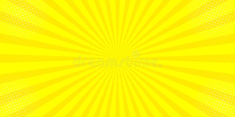 O sol amarelo cômico irradia o desenho retro do kitsch da ilustração do pop art do fundo ilustração do vetor