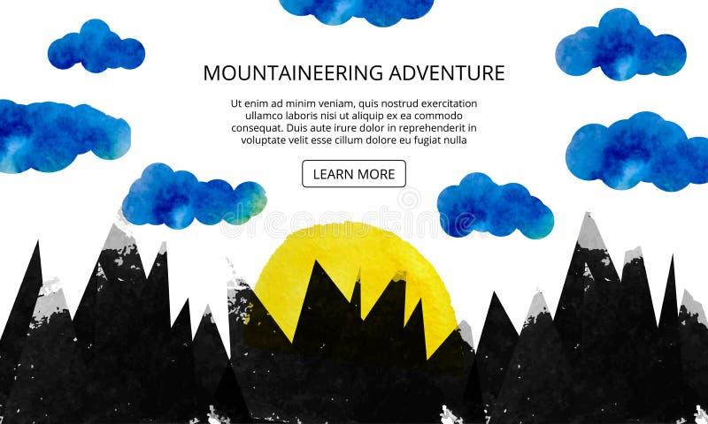 O sol aumenta sobre a montanha Anunciando um feriado do esqui nas montanhas Uma cena da natureza no terreno montanhoso Página da  ilustração royalty free