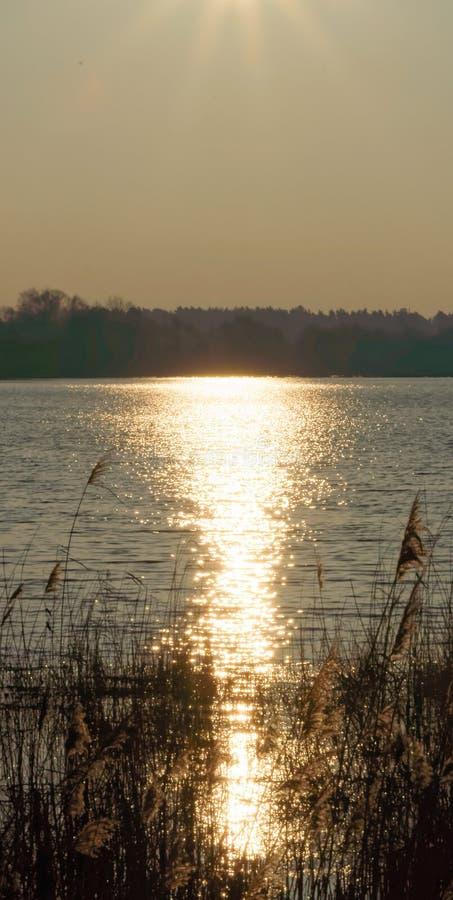 O sol brilhante do inverno é refletido no amanhecer em um grande p fotografia de stock