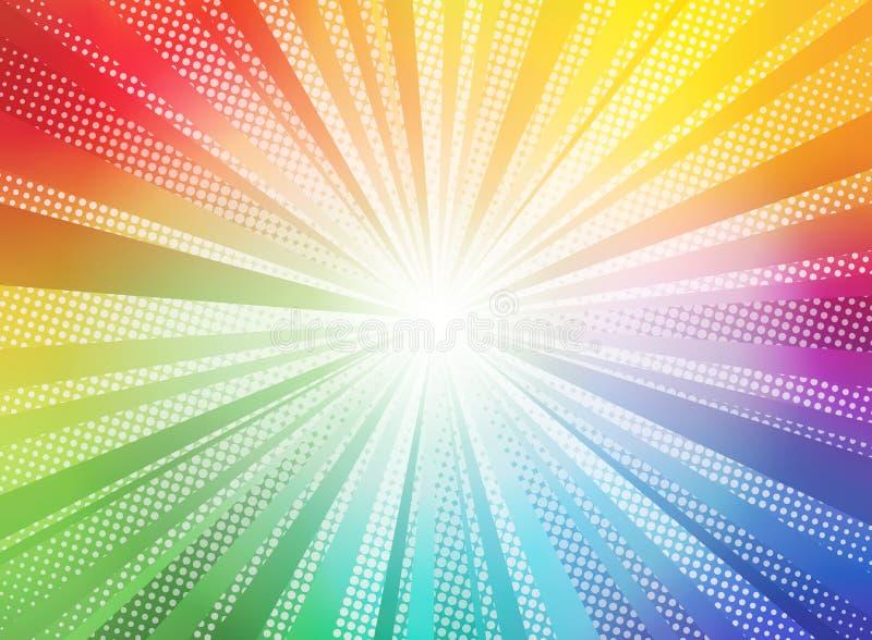 O sol cômico do inclinação da cor irradia o desenho retro do kitsch da ilustração do vetor do pop art do fundo ilustração do vetor