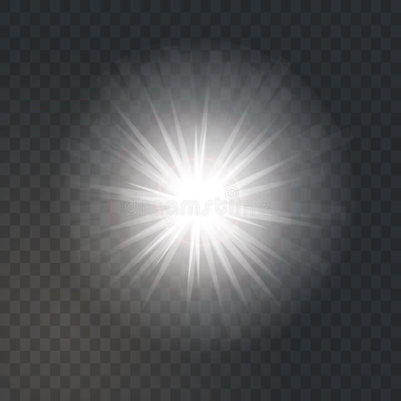 O sol claro de incandescência brilhante estourou no fundo transparente escuro ilustração stock