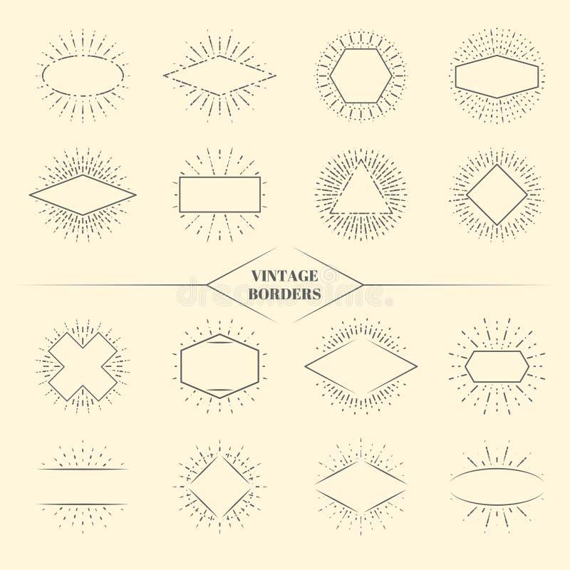 O sol da beleza do vintage irradia beiras ou os círculos retros star a ilustração de explosão do vetor dos quadros ilustração do vetor