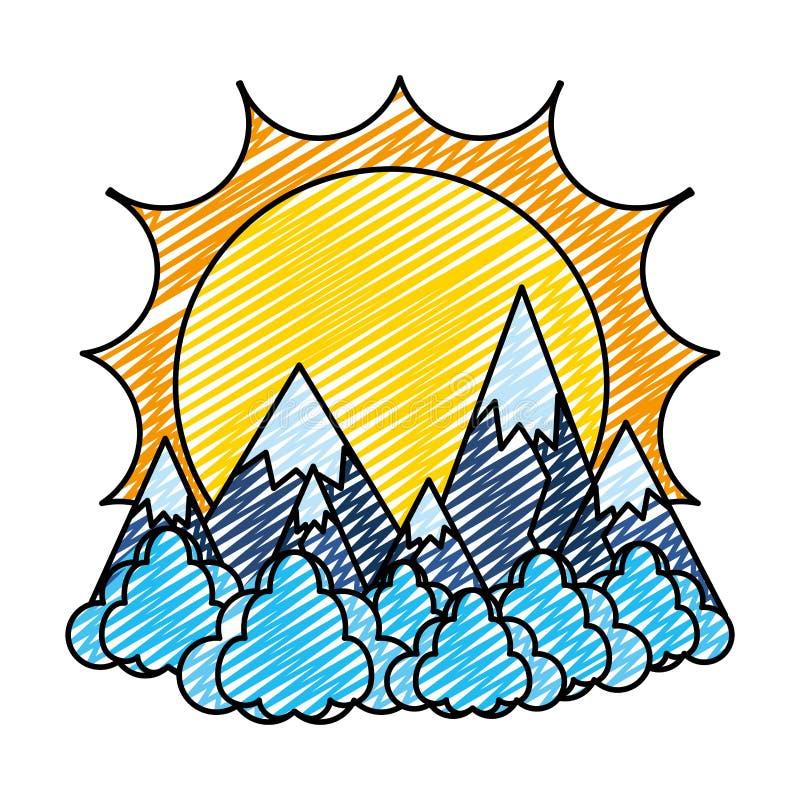 O sol da garatuja com montanhas do gelo e as nuvens ajardinam ilustração do vetor