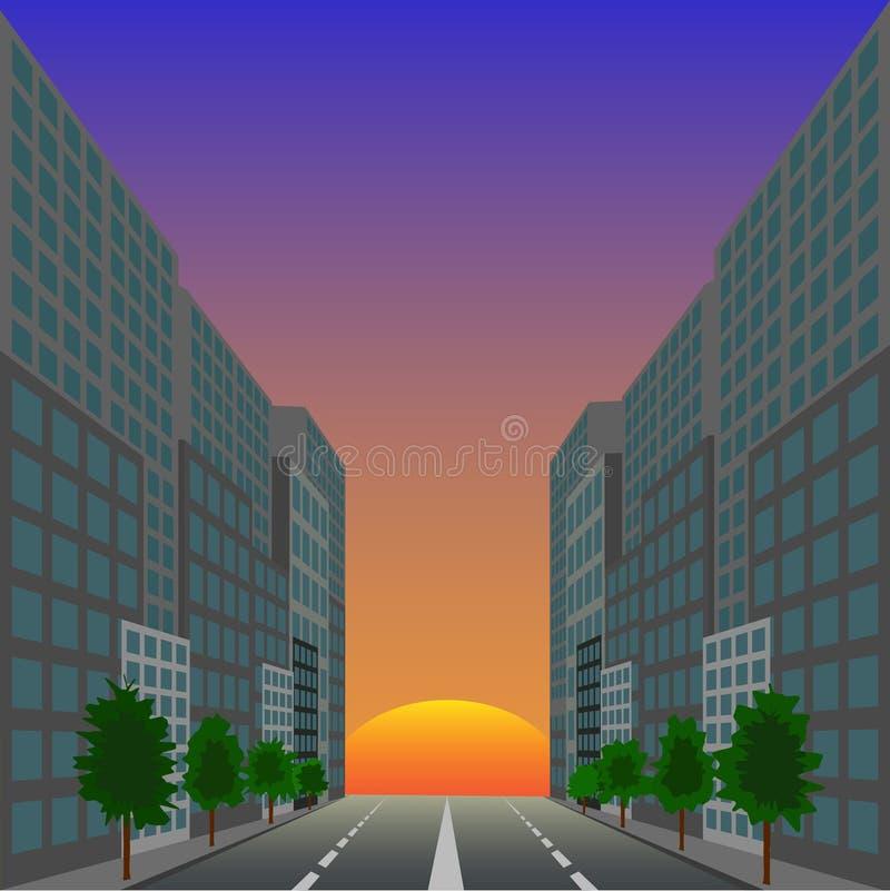 O sol de ascensão de encontro à rua da cidade ilustração stock
