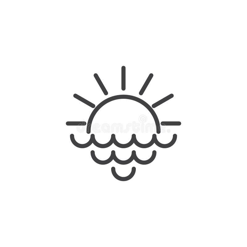 O sol de aumentação com raios e mar acena o ícone do esboço ilustração stock