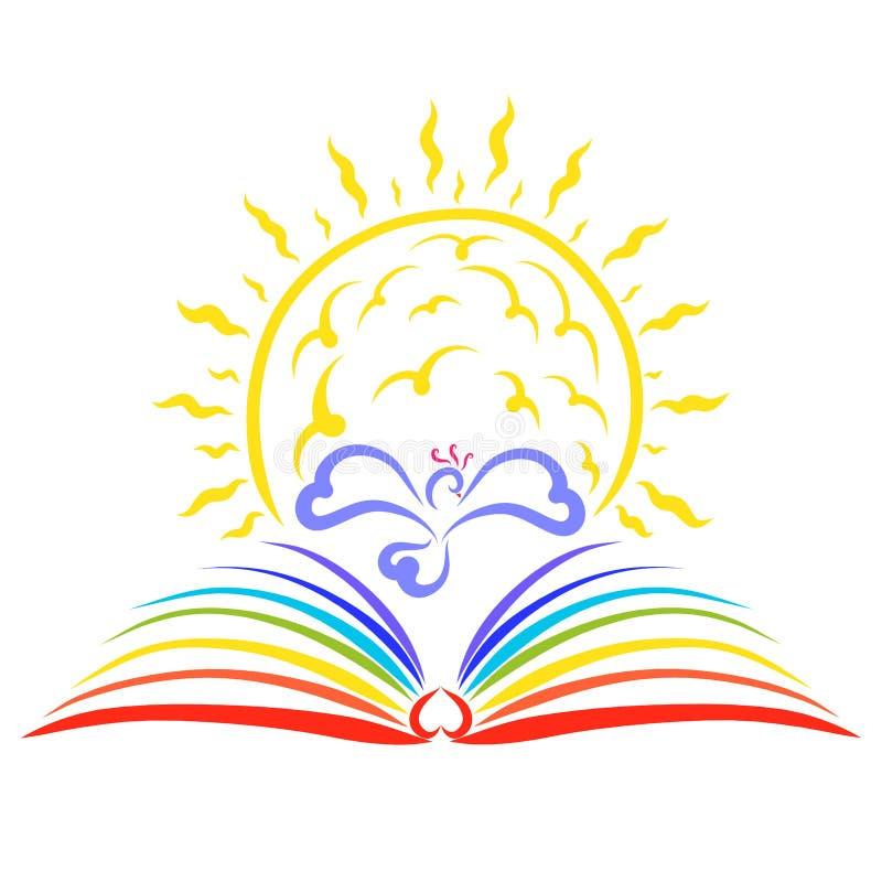 O sol de brilho acima do livro do arco-íris e do pássaro entre eles ilustração royalty free