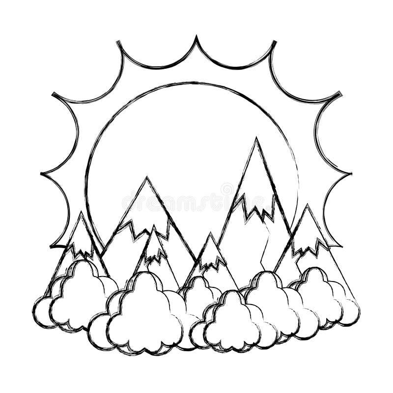 O sol do Grunge com montanhas do gelo e as nuvens ajardinam ilustração stock