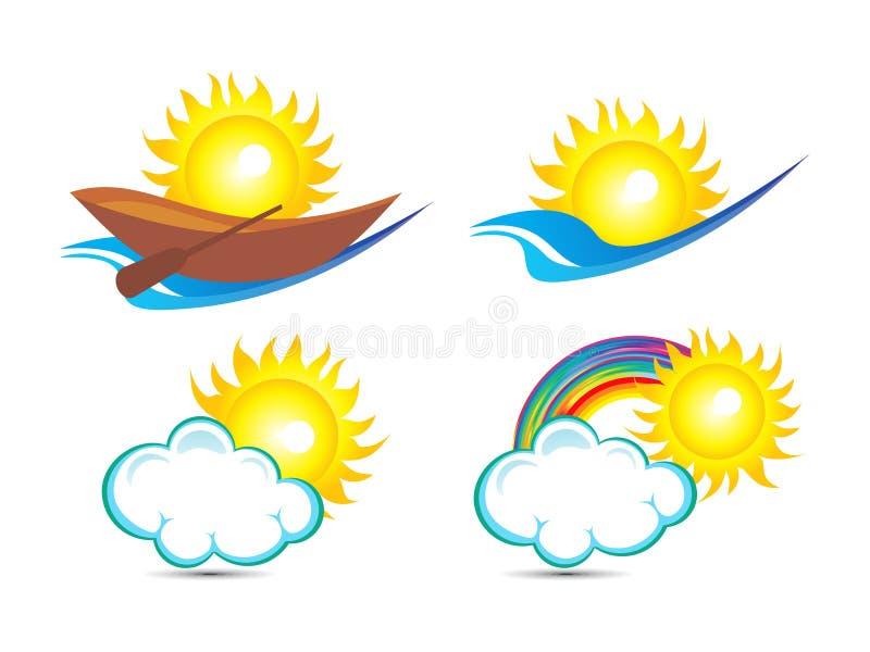 O sol múltiplo abstrato baseou o molde do logotipo ilustração do vetor