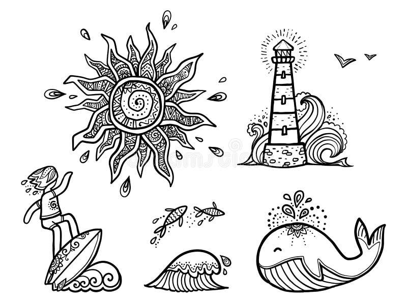 O sol ornamentado, surfista na linha vetor da onda, dos peixes, da baleia e do farol da arte projeta as etiquetas surfando ajusta ilustração do vetor