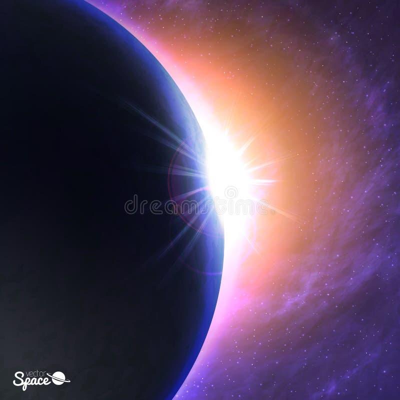 O sol que levanta-se sobre a terra Alvorecer bonito do ponto de vista do espaço no fundo cósmico Ilustração do vetor para ilustração stock