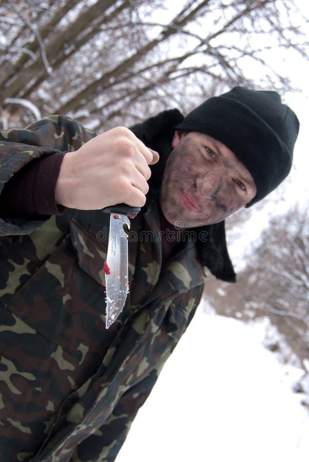 O soldado com uma faca. fotos de stock