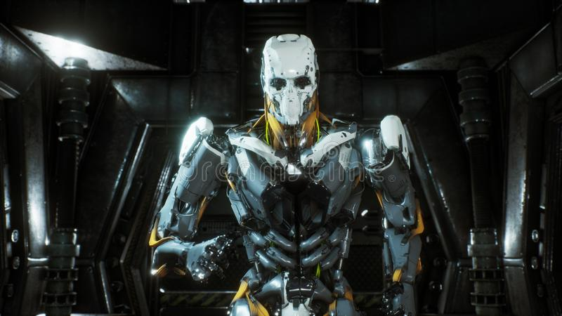 O soldado do robô corre através de um túnel futurista da ficção científica com faíscas e fumo, vista interior rendição 3d ilustração do vetor