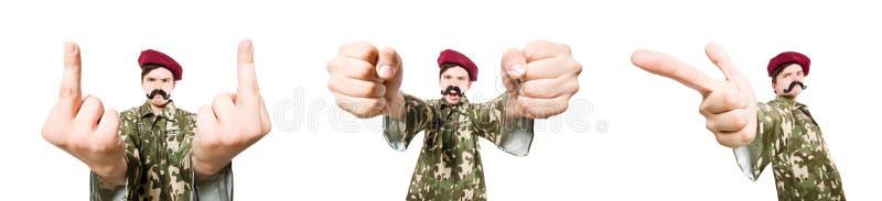 O soldado engraçado isolado no branco foto de stock