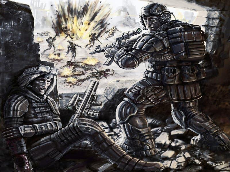 O soldado girado para o atirador furtivo ferido ilustração stock