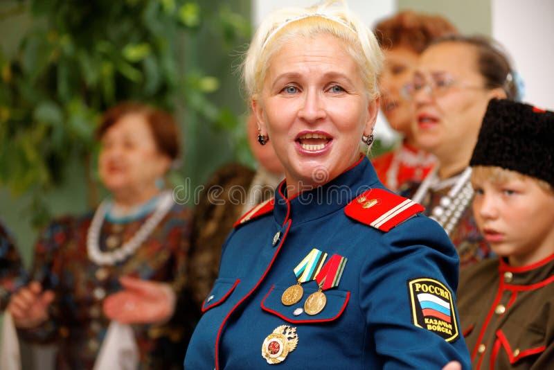O solista dos povos, cossaco, coro ártico do canto do exército imagens de stock royalty free