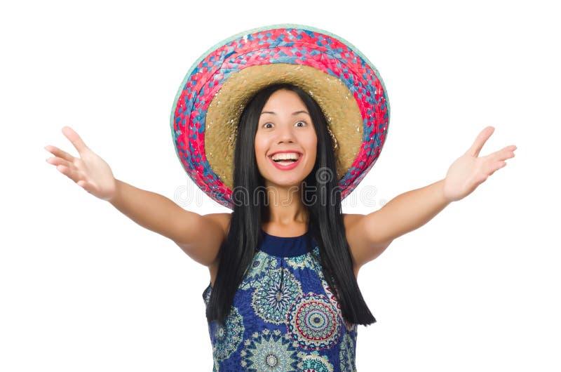 O sombreiro vestindo da mulher atrativa nova sobre fotos de stock