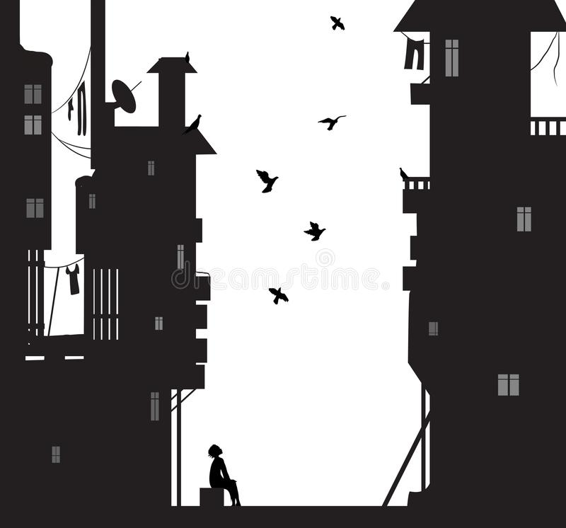 O sonhador da noite, menino senta-se perto das casas da cidade e dos pombos do voo do olhar, sonhos ilustração do vetor