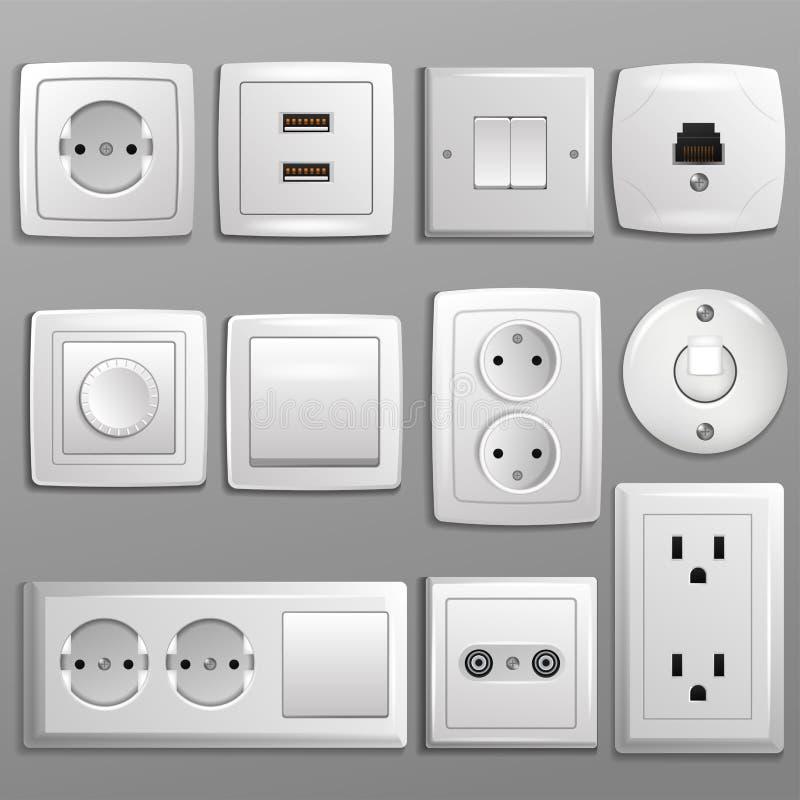 O soquete e o interruptor vector a tomada elétrica para tomadas elétricas e grupo da ilustração da eletricidade de tipos diferent ilustração stock
