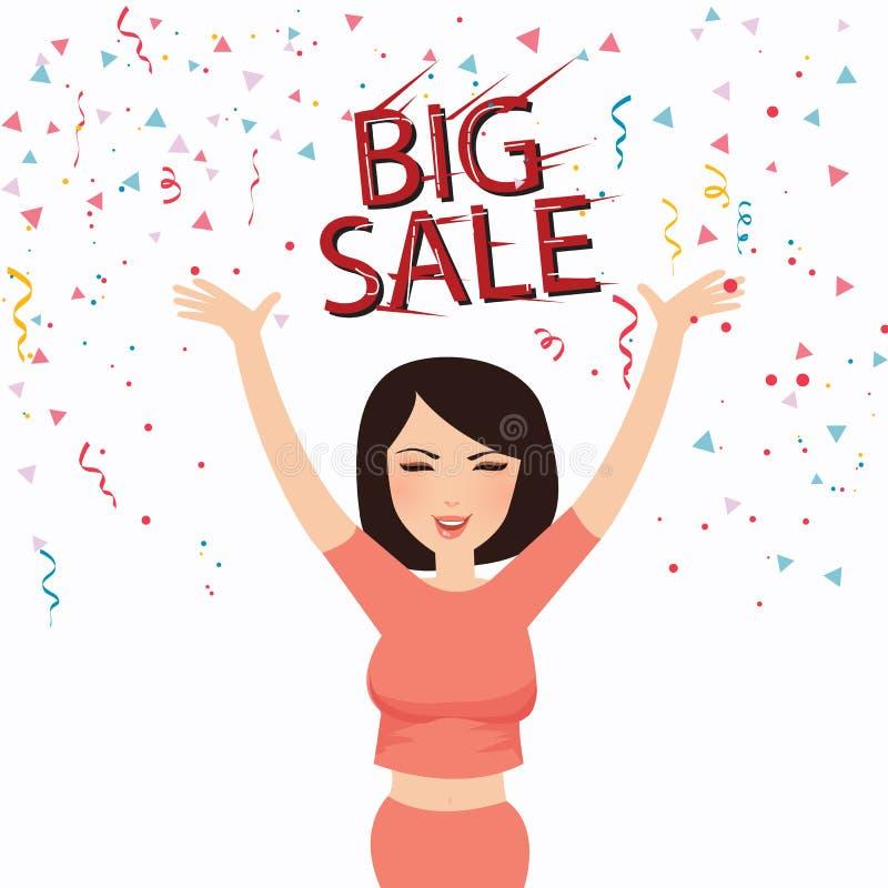 O sorriso grande feliz da cara do texto da venda da mulher comemora o cliente ilustração do vetor