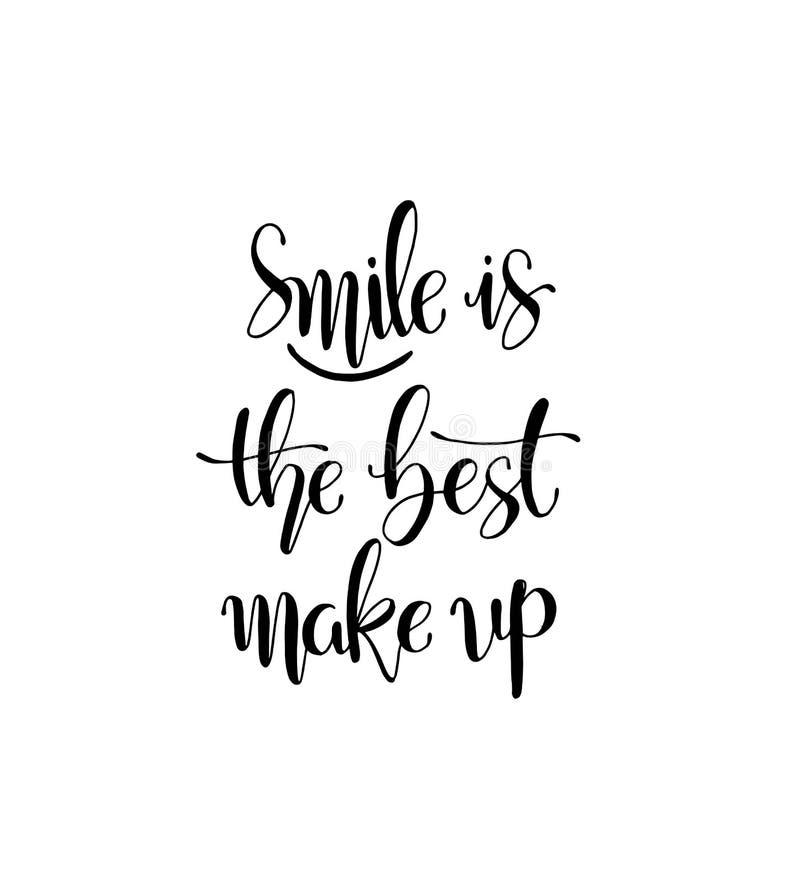 O sorriso ? o melhor comp?e M?o que rotula cita??es da forma da motiva??o para seu projeto ilustração royalty free