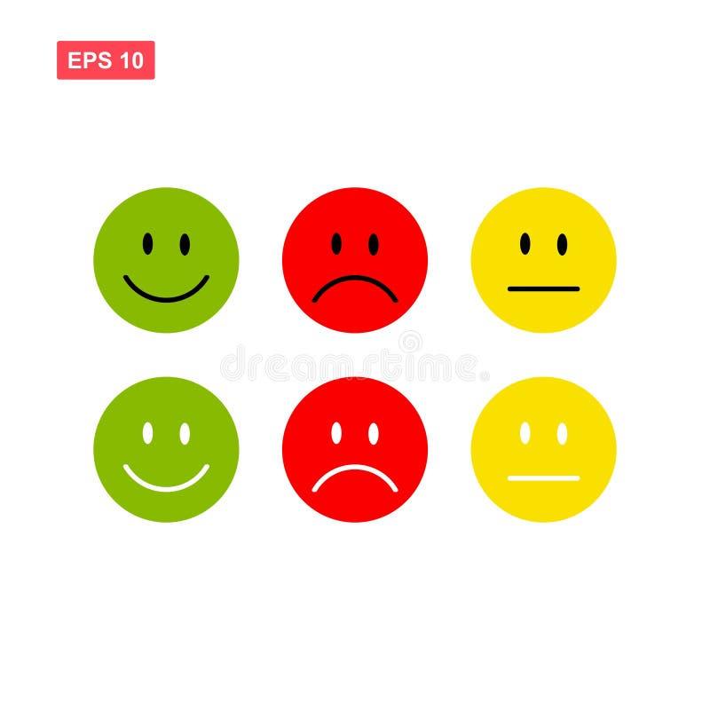 O sorriso ou o vetor da cara da reação do emoticon ou do emoji isolaram-se ilustração stock