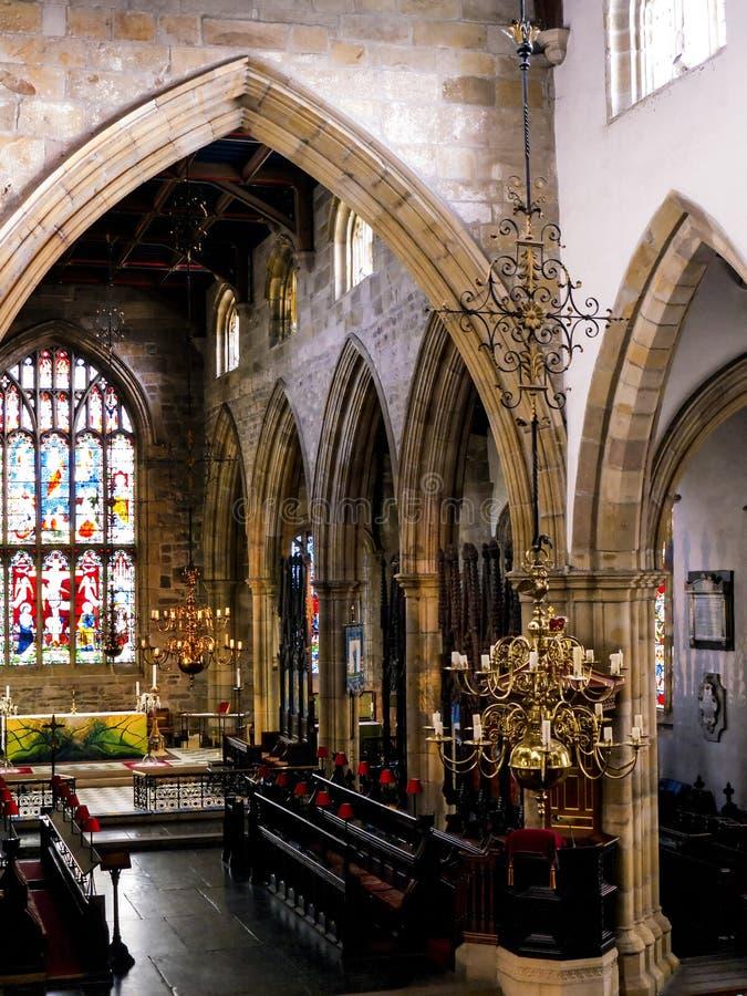 O St Marys, igreja do convento de Lancaster é próximo pelo castelo acima da cidade em Inglaterra fotos de stock royalty free