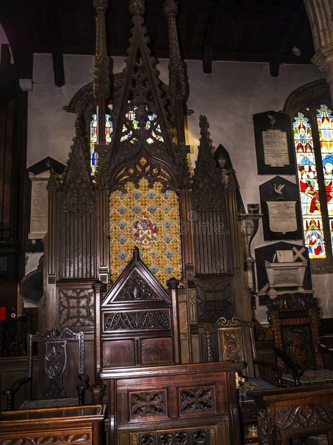 O St Marys, igreja do convento de Lancaster é próximo pelo castelo acima da cidade em Inglaterra fotografia de stock