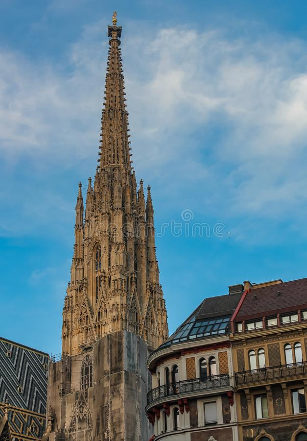 O St Stephens Cathedral em Viena é uma catedral católica, o símbolo nacional de Áustria e o símbolo da cidade de Viena fotos de stock