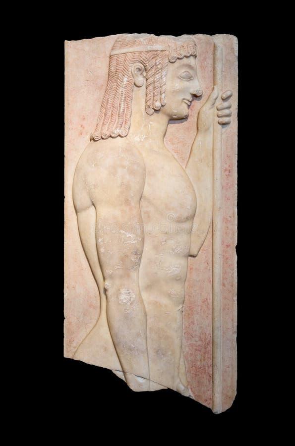 O stele grave grego mostra os doryphoros novos (550 BC) imagem de stock