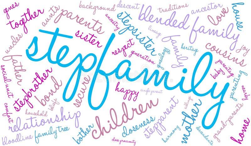 O Stepfamily exprime a nuvem ilustração do vetor