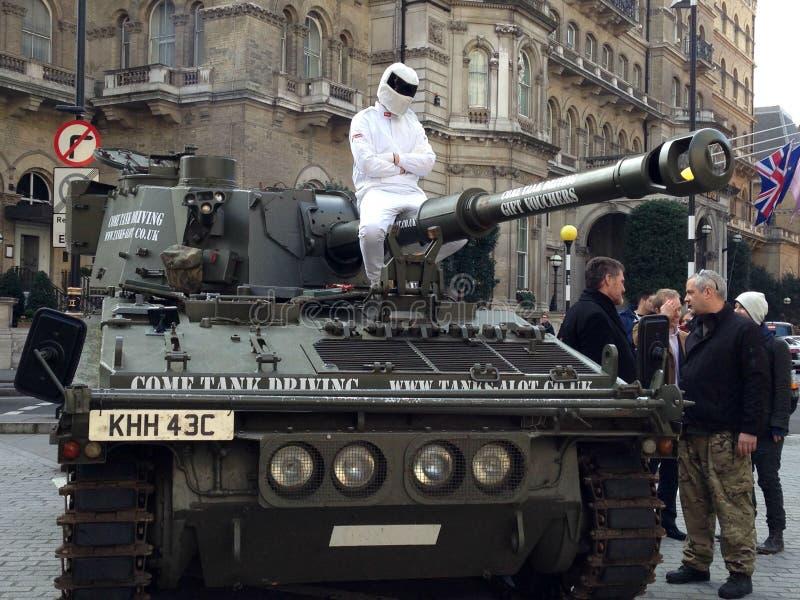 O Stig que protesta na BBC imagens de stock royalty free